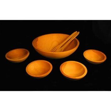 Holland Bowl Mill 115B5S Oil-Finished Five-Bowl Wooden Salad Bowl Set