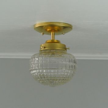 Diamond Globe Brass Flush Mount Light