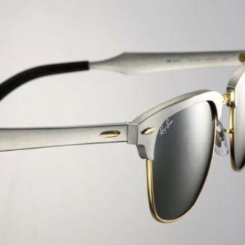 Ray-Ban ALUMINIUM CLUBMASTER Brushed Silver Gold Sunglasses RB 3507 137/40 49 MM