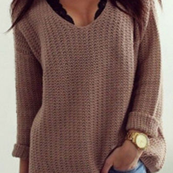 Retro Loose V Neck Cozy Oversized Sweater