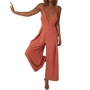Sexy V Neck Backless Strap Jumpsuit Women Summer Casual Loose Long Overalls for Women Orange Romper Bodysuit Pants with Bow