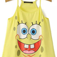 Yellow Spaghetti Strap SpongeBob Cropped Top