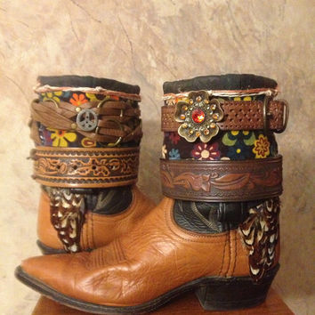ChicksKicks DAN POST upcycled western cowboy boots womens size 6 1/2 - 7