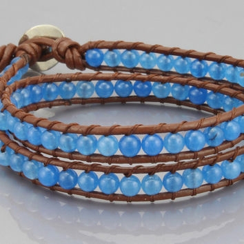 Two Rows Wrap Bracelet in Blue