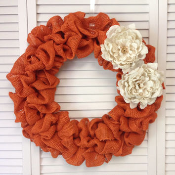 Fall Wreath, Orange Burlap Wreath, Fall Orange Burlap Wreath with Cream Burlap Flowers, Halloween Wreath