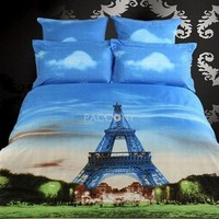 3D Painting-Beautiful Eiffel Tower Cotton 4-Piece Queen Size Duvet Covers