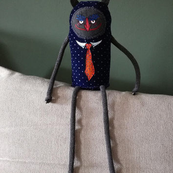 MALICIOUS LITTLE IMP | Little plush demon | Fabric monster | Tiny devil | art doll | goth toy | Made to order