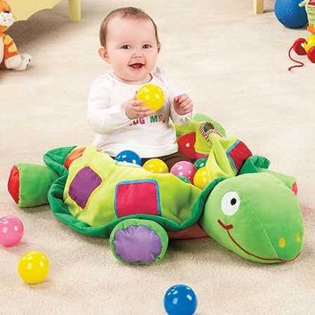 Baby Activity Play Plush Turtle Ball Set Storage Portable Development