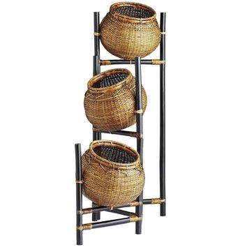 Rattan Basket Bamboo Stand - 3 Tier