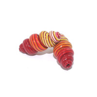 Spiral beads, stripes polymer Clay beads in red orange and yellow, Spring shape unique beads, set of 2 ombre beads
