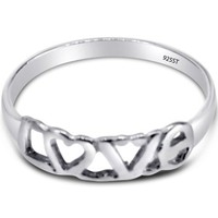925 Sterling Silver LOVE and HEART High Polished Ring Available in Sizes 4-10