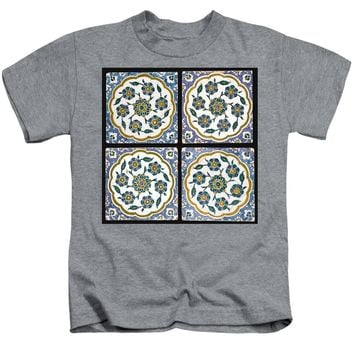 An Ottoman Iznik Style Floral Design Pottery Polychrome, By Adam Asar, No 14c - Kids T-Shirt