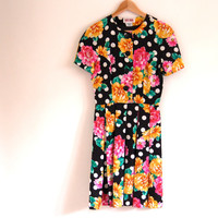 Floral mini dress - 80s vintage polka dot flower print silk party dress - black pink yellow - full skirt - short sleeves - small