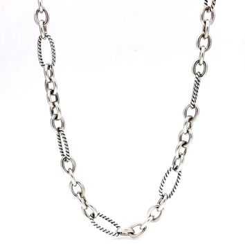 DAVID YURMAN Figaro Link Chain Necklace in Sterling Silver and 18k Gold X-LARGE