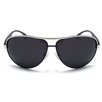 Rounded Stripy Metal Big Full Frame Sunglasses