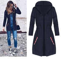 Waist String WindProof Coat with Hood