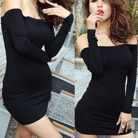 New Women Off Shoulder Stretch Tunic Tight Fitted Club wear Party Sexy Mini Dress Black Vestidos = 1956559428
