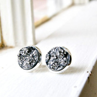 silver crush faux druzy post earrings, stud, silver plated post, faux plugs,