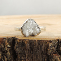 SALE- 3.5 Carat White Rough Engagement Ring // 14k White Gold and Uncut Diamond