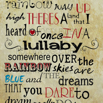 Somewhere Over The Rainbow, Wizard Of Oz Print, in A3 or A4 format
