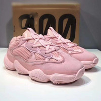 Adidas Yeezy Boost 500 Desert Rat Fashion Retro Couple Running Sport Shoes Sneakers Pink