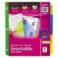 Avery® Big Tab Dividers, Two Slash Pockets, 5-Tab, Assorted, Pack