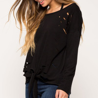 Distressed Tie Font Sweatshirt