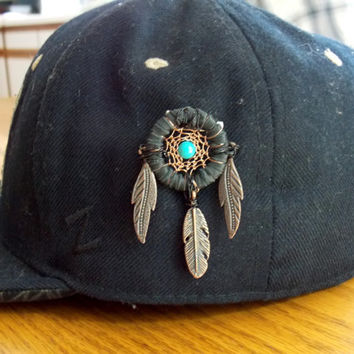 Heady Dream Catcher Hat Pin with Turquoise and Metal Feathers // Festival Head Wear