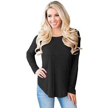 Chicloth Black Open Back Detail Long Sleeve Loose Fit Sweater