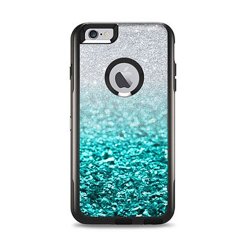 The Aqua Blue & Silver Glimmer Fade Apple iPhone 6 Plus Otterbox Commuter Case Skin Set