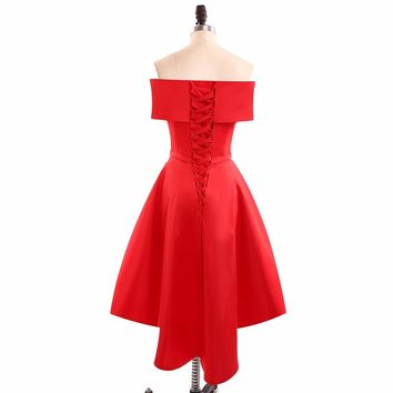 Red Simple Short Prom Dresses Off the shoulder Knee Length Party Evening Dress