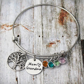 Mothers Bracelet - Family Tree Bangle - Mom Grandma - Personalized - Custom - Nana - Mimi - Gigi - Grammy - Charm Bracelet - Mother's Day