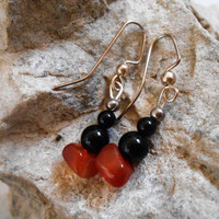 Black Onyx and Carnelian Earrings, Handmade, OOAK