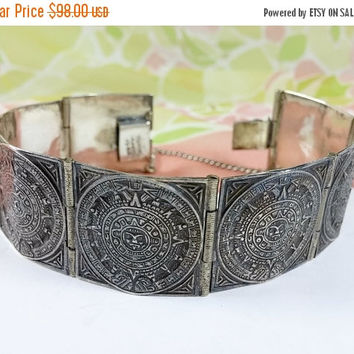 Vintage Mexico Silver Aztec Mayan Calendar Bracelet 925 Panel Bracelet Amazing Meticulous Detail Patina Wonderful Piece of the Past