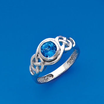 Sterling Silver Irish Love Knot Ring w/ Blue Topaz center stone.