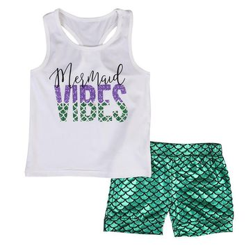 Stylish Baby Girls Kids clothes Sleeveless letter print round neck pullover vest Mermaid Shorts Summer 2PCS casual cotton set