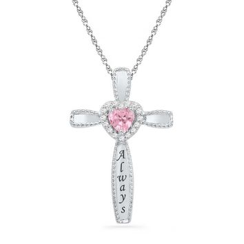 Heart-Shaped Lab-Created Pink Sapphire and 1/15 CT. T.W. Diamond Cross Pendant in Sterling Silver (6 Characters)|Zales