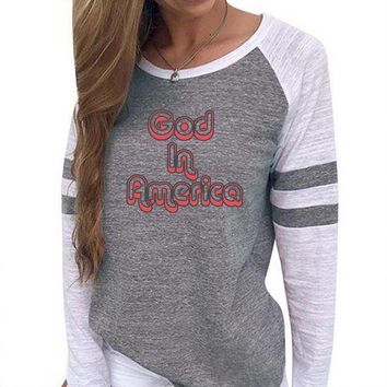 God In America Women's Baseball Jersey Christian Semi-Fitted Long Sleeve Shirt