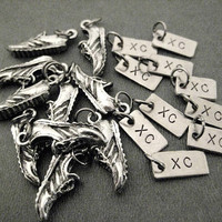 10 Pack Set - 10 Sets of RUNNING SHOE XC Charm Set - (1) Pewter Running Shoe Charm Plus (1) Xc Charm in Each Set - Each Set in Organza Bag
