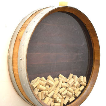 "BARREL ART - ""Kala"" - Wall Mounted Wine Barrel Cork Holder - 100% recycled"