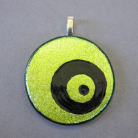 Dichroic Gold Pendant, Hand Etched Glass, Modern Pendant, Modern Jewelry - Elliptical - 1902 -2