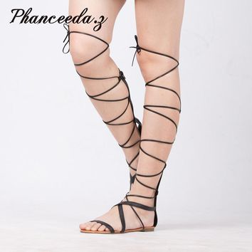 New 2017 Shoes Women Sandals Lace Up Sexy Knee High Boots Gladiator Tie String Casual