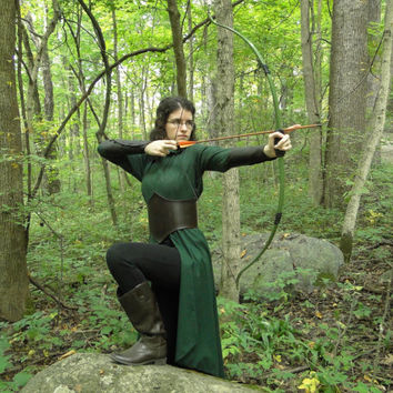 Elven Dress Costume Set - Dress, Leather Belt & Arm Bracers - Lord of the Rings Inspired, Womens Small - MADE TO ORDER -