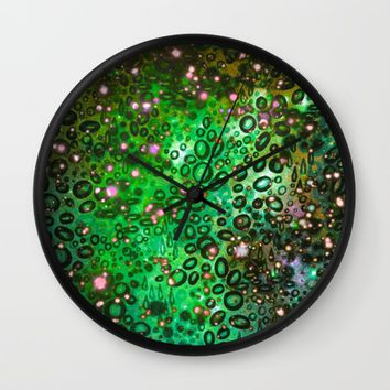 RAINBOW DOTTY OCEAN 3 Green Lime Ombre Space Galaxy Colorful Polka Dot Bubbles Abstract Painting Art Wall Clock by EbiEmporium