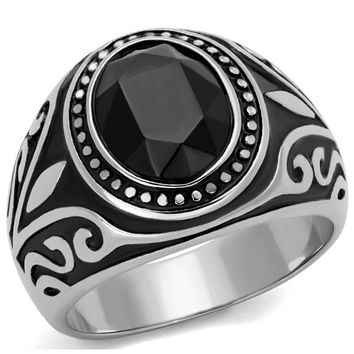 Noir Magic - Stainless Steel, Jet Stone and Black Epoxy Contemporary Ring