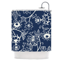 "Laura Nicholson ""Passion Flower"" Navy Floral Shower Curtain"