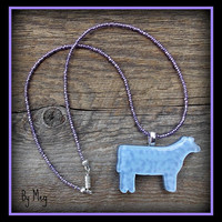 Show steer/heifer art glass removable pendant with nice beaded necklace