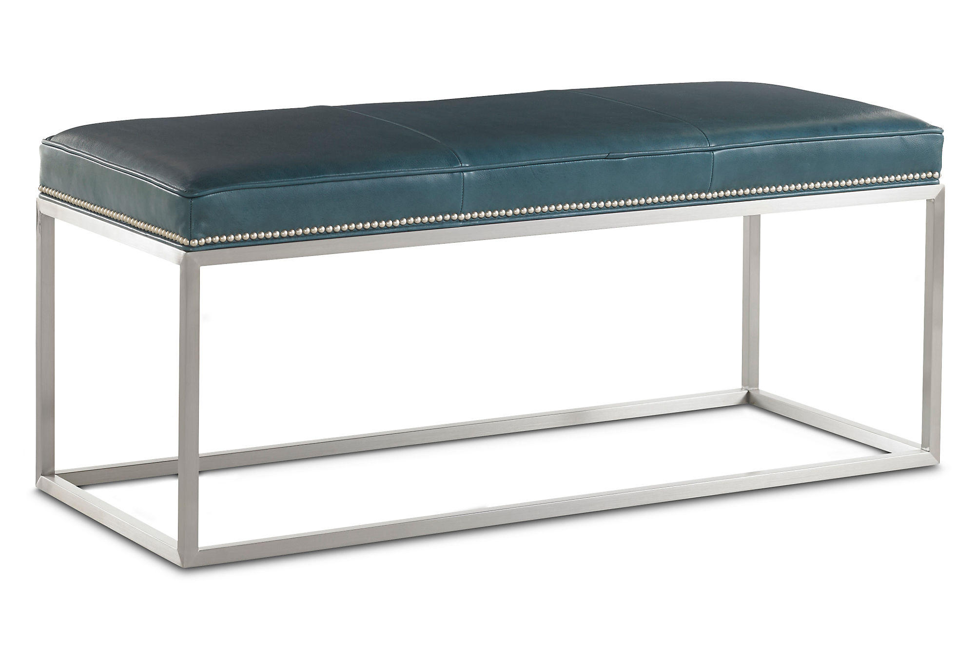 Domino Leather Bench Teal Entryway From One Kings Lane