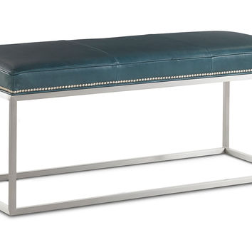 Domino Leather Bench, Teal, Entryway Bench, Bedroom Bench