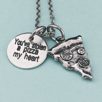 You've stolen a pizza my heart, Valentine's Day necklace, couples necklace, pizza necklace, love necklace, friend necklace, quote necklace